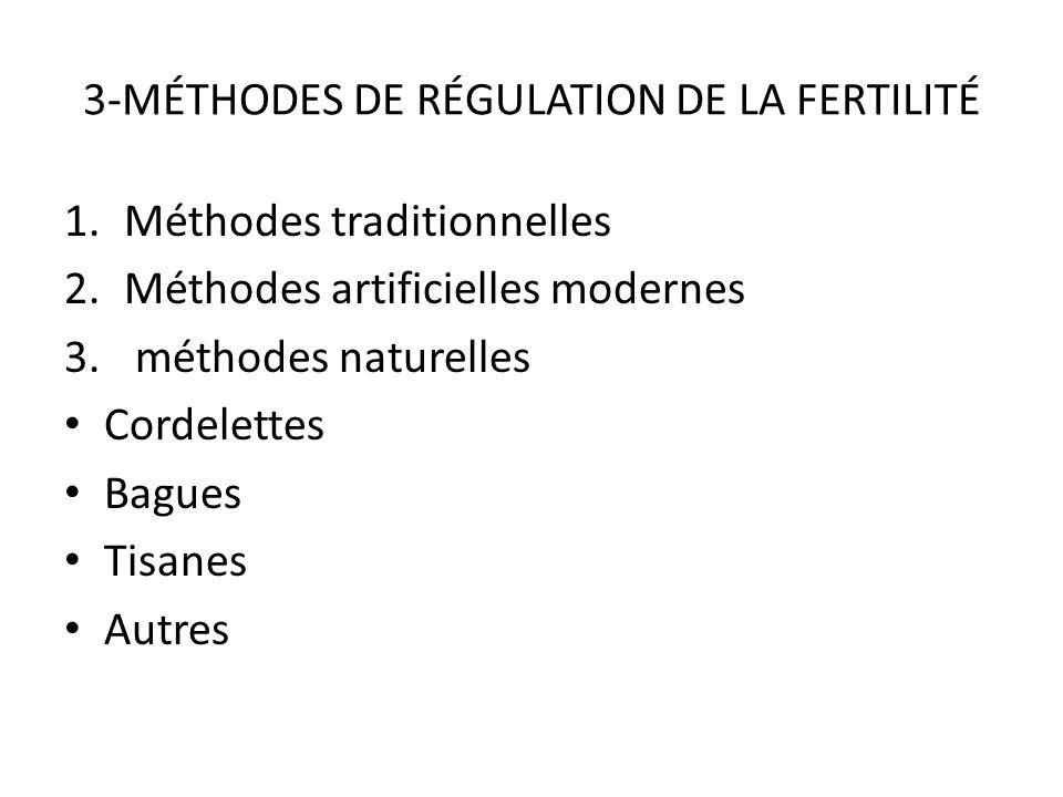 3-MÉTHODES DE RÉGULATION DE LA FERTILITÉ 1.Méthodes traditionnelles 2.Méthodes artificielles modernes 3.