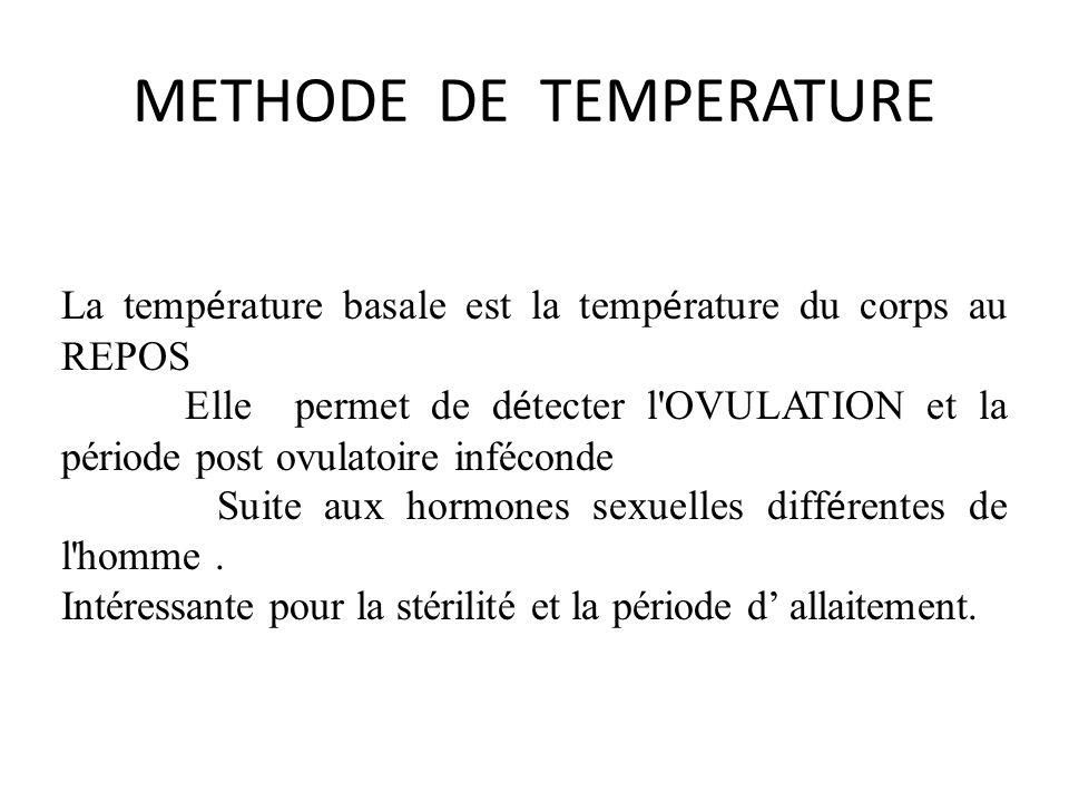 METHODE DE TEMPERATURE La temp é rature basale est la temp é rature du corps au REPOS Elle permet de d é tecter l OVULATION et la période post ovulatoire inféconde Suite aux hormones sexuelles diff é rentes de l homme.