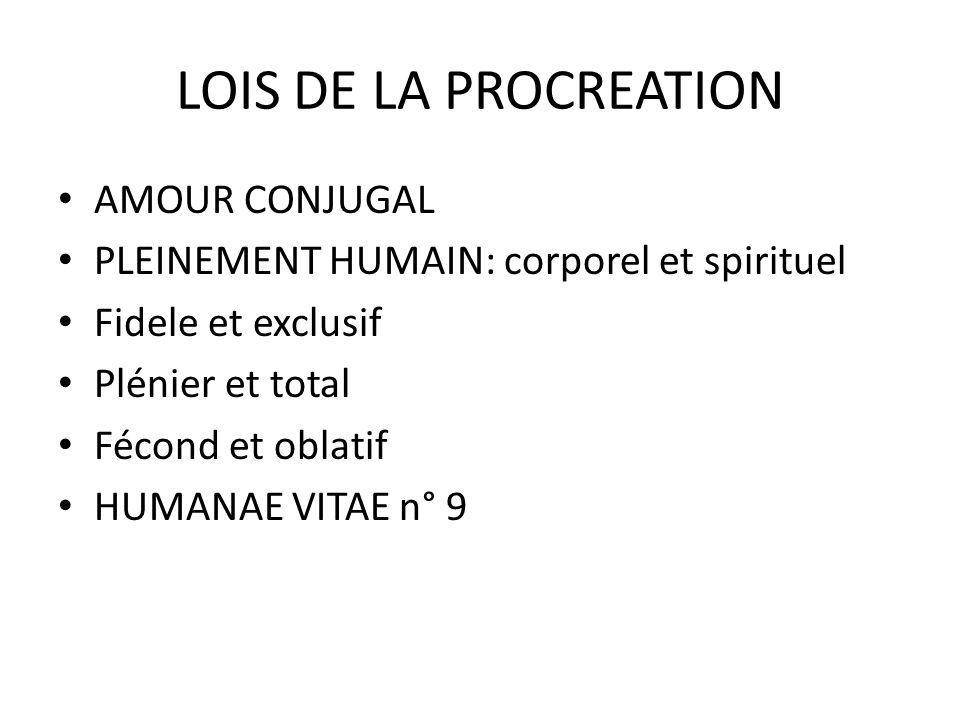 LOIS DE LA PROCREATION AMOUR CONJUGAL PLEINEMENT HUMAIN: corporel et spirituel Fidele et exclusif Plénier et total Fécond et oblatif HUMANAE VITAE n° 9