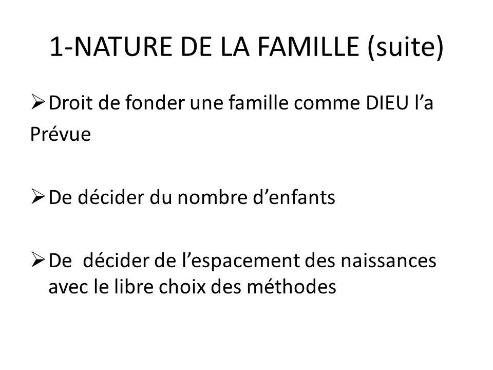 1-NATURE DE LA FAMILLE (suite) Droit de fonder une famille comme DIEU la Prévue De décider du nombre denfants De décider de lespacement des naissances avec le libre choix des méthodes