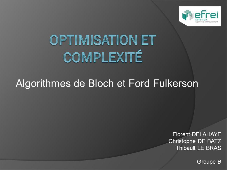 Algorithmes de Bloch et Ford Fulkerson Florent DELAHAYE Christophe DE BATZ Thibault LE BRAS Groupe B