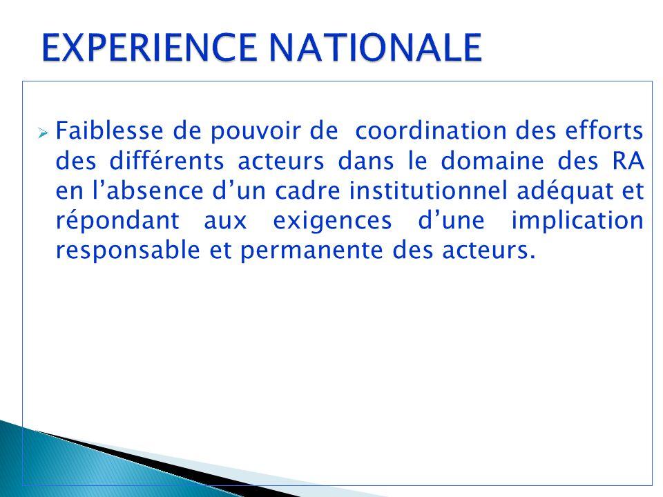 Faiblesse de pouvoir de coordination des efforts des différents acteurs dans le domaine des RA en labsence dun cadre institutionnel adéquat et répondant aux exigences dune implication responsable et permanente des acteurs.