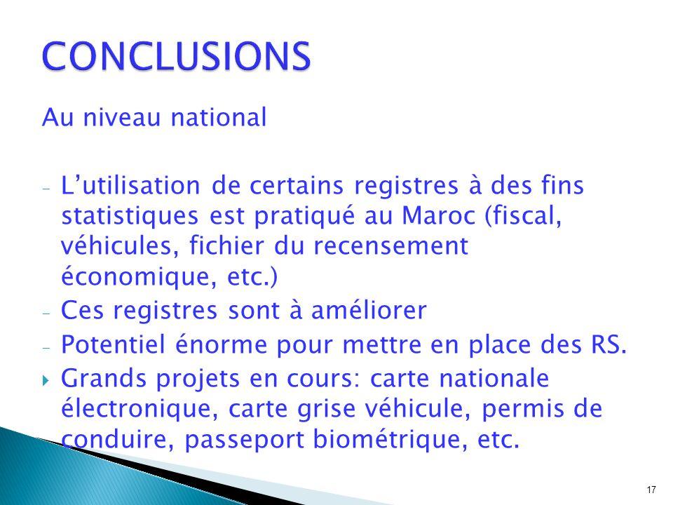 Au niveau national - Lutilisation de certains registres à des fins statistiques est pratiqué au Maroc (fiscal, véhicules, fichier du recensement économique, etc.) - Ces registres sont à améliorer - Potentiel énorme pour mettre en place des RS.