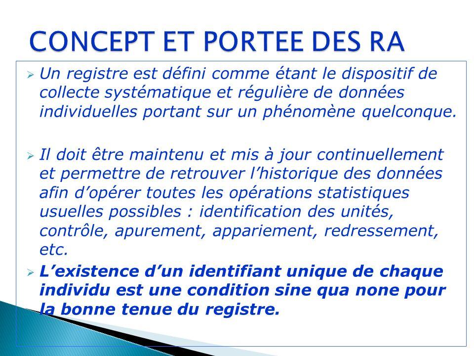 Un registre est défini comme étant le dispositif de collecte systématique et régulière de données individuelles portant sur un phénomène quelconque.