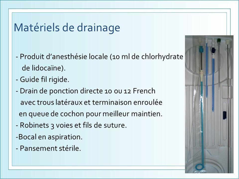 Matériels de drainage - Produit danesthésie locale (10 ml de chlorhydrate de lidocaïne). - Guide fil rigide. - Drain de ponction directe 10 ou 12 Fren