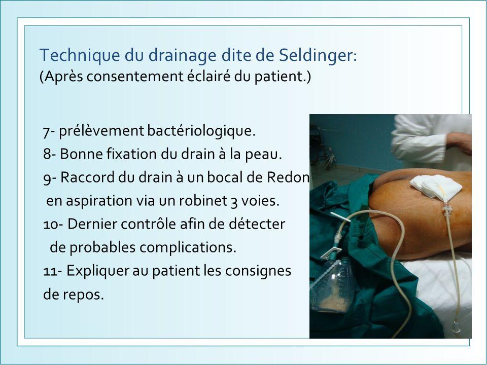 Technique du drainage dite de Seldinger: (Après consentement éclairé du patient.) 7- prélèvement bactériologique. 8- Bonne fixation du drain à la peau