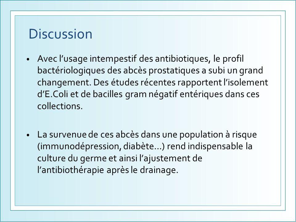 Avec lusage intempestif des antibiotiques, le profil bactériologiques des abcès prostatiques a subi un grand changement. Des études récentes rapporten