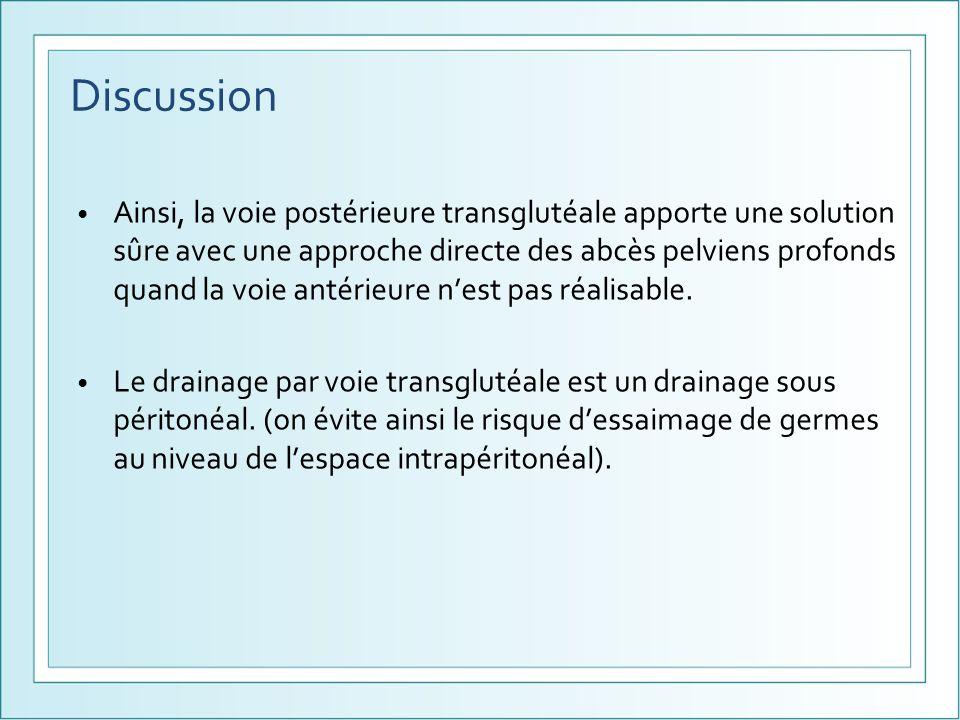 Discussion Ainsi, la voie postérieure transglutéale apporte une solution sûre avec une approche directe des abcès pelviens profonds quand la voie anté