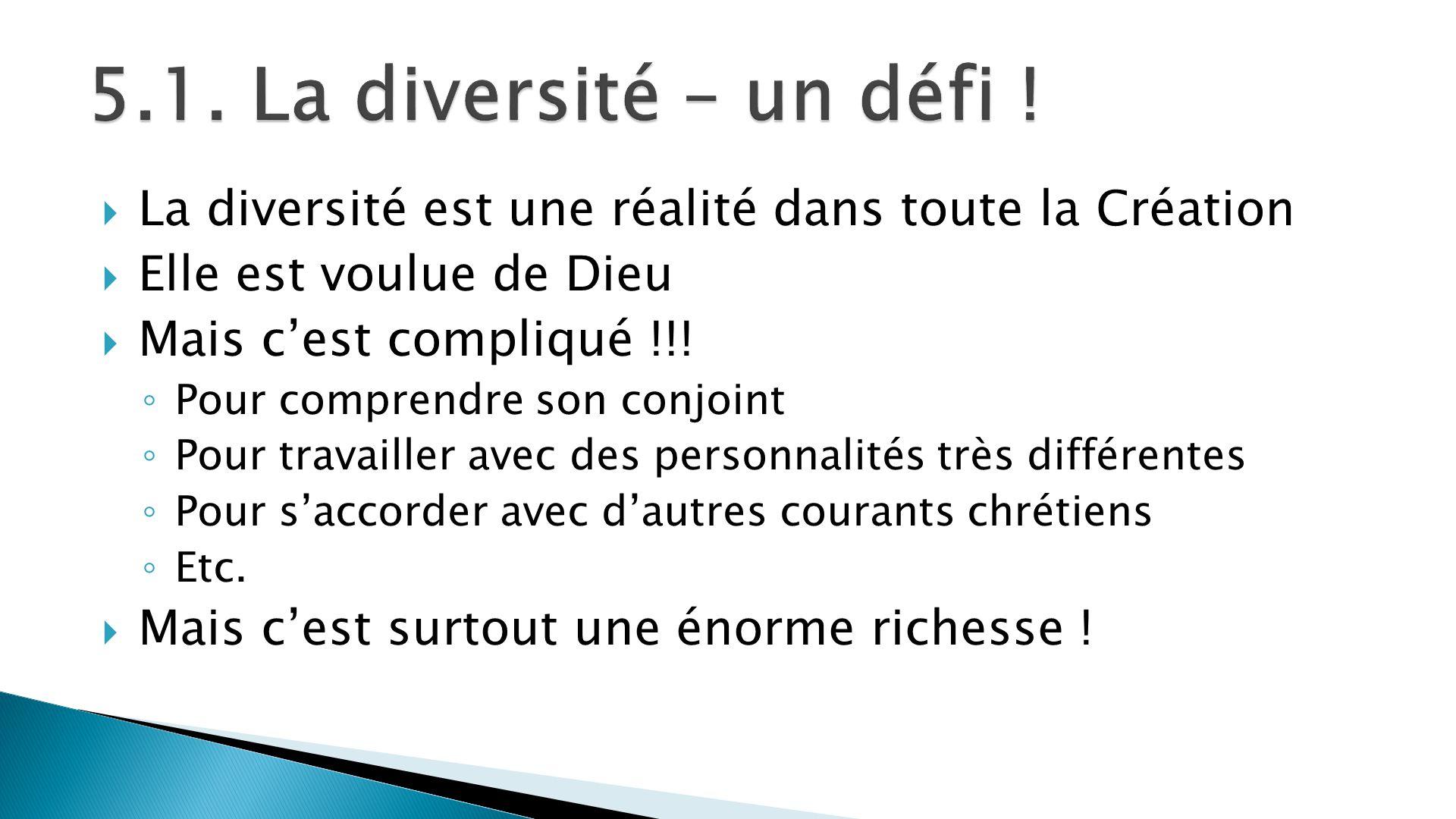 La diversité est une réalité dans toute la Création Elle est voulue de Dieu Mais cest compliqué !!! Pour comprendre son conjoint Pour travailler avec