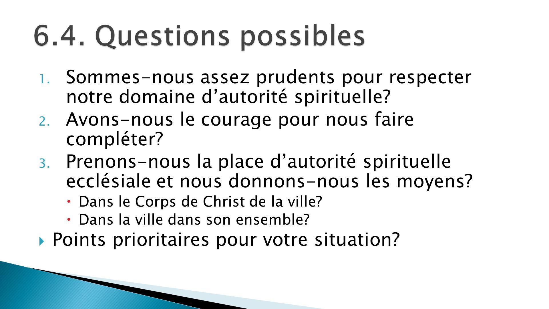 1. Sommes-nous assez prudents pour respecter notre domaine dautorité spirituelle? 2. Avons-nous le courage pour nous faire compléter? 3. Prenons-nous