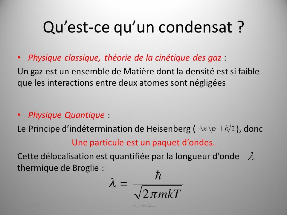 Quest-ce quun condensat ? Physique classique, théorie de la cinétique des gaz : Un gaz est un ensemble de Matière dont la densité est si faible que le