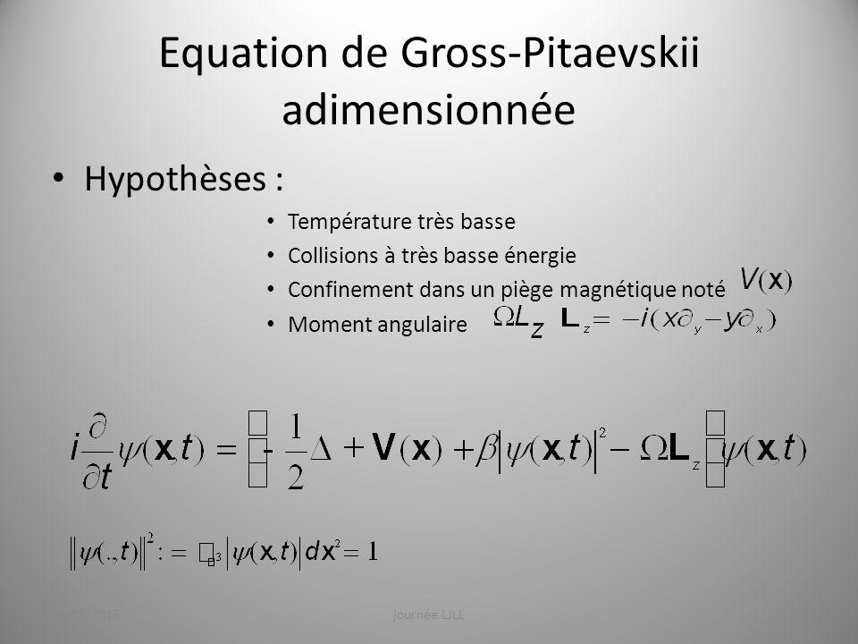 Equation de Gross-Pitaevskii adimensionnée Hypothèse : état stationnaire (, ) sont obtenus par résolution dun problème aux valeurs propres non linéaire tel que : Avec : 19/12/2013journée LJLL6 Potentiel chimique