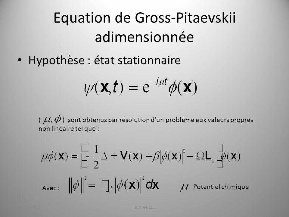 Equation de Gross-Pitaevskii adimensionnée Hypothèse : états stationnaires Qui peut sécrire également intrégrale : Les états stationnaires nommés : « Ground State » sont obtenus en minimisant E 19/12/2013journée LJLL7