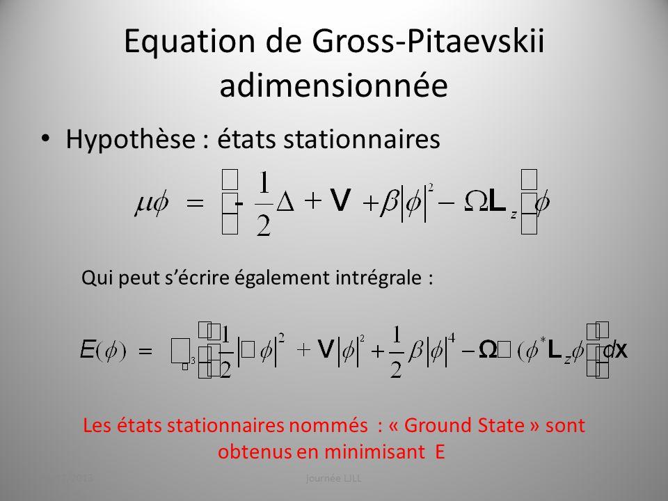 Equation de Gross-Pitaevskii adimensionnée Hypothèse : états stationnaires Qui peut sécrire également intrégrale : Les états stationnaires nommés : «