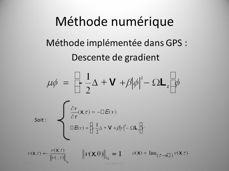 Méthode numérique Méthode implémentée dans GPS : Descente de gradient Soit : 19/12/2013journée LJLL9