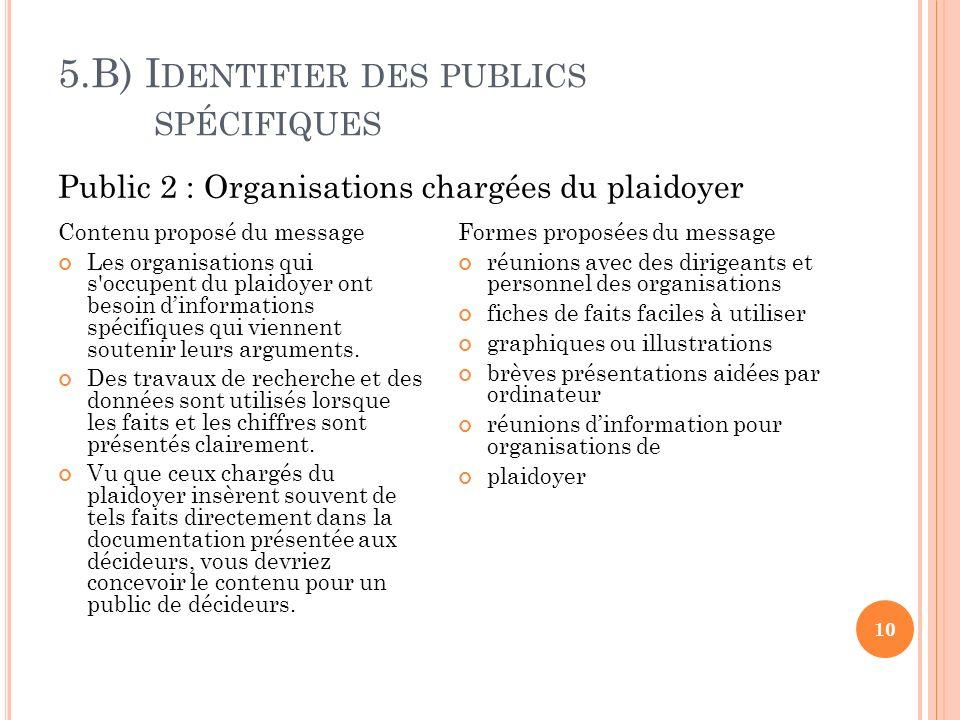5.B) I DENTIFIER DES PUBLICS SPÉCIFIQUES 10 Contenu proposé du message Les organisations qui s occupent du plaidoyer ont besoin dinformations spécifiques qui viennent soutenir leurs arguments.