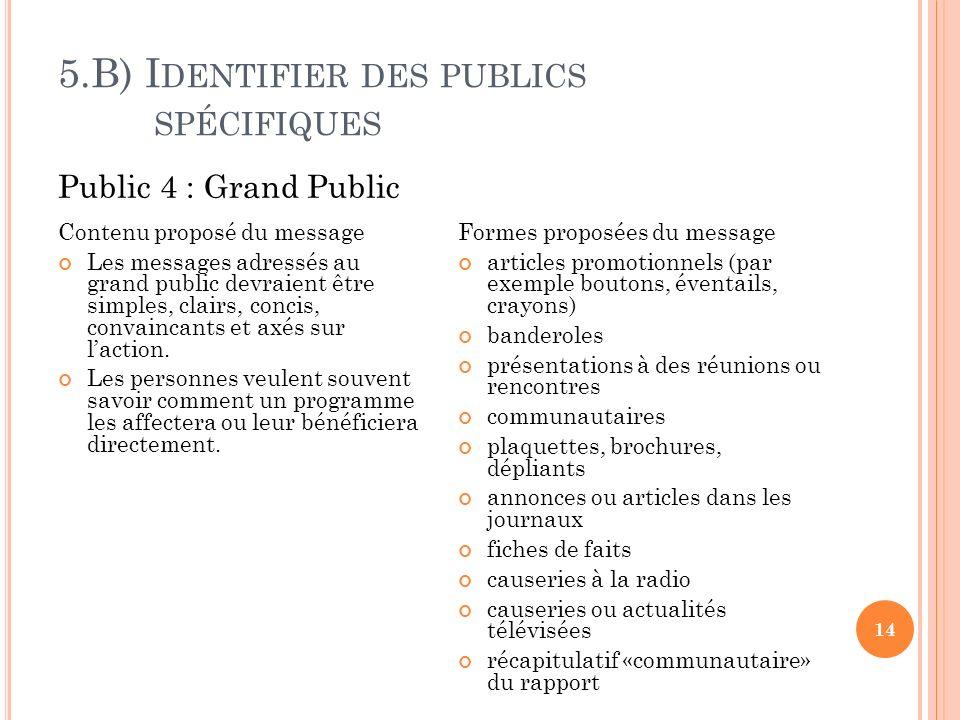 5.B) I DENTIFIER DES PUBLICS SPÉCIFIQUES 14 Contenu proposé du message Les messages adressés au grand public devraient être simples, clairs, concis, convaincants et axés sur laction.