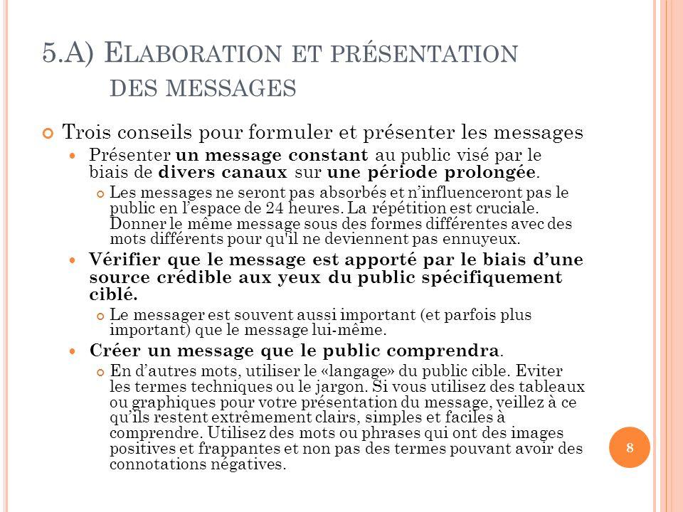 5.A) E LABORATION ET PRÉSENTATION DES MESSAGES Trois conseils pour formuler et présenter les messages Présenter un message constant au public visé par le biais de divers canaux sur une période prolongée.