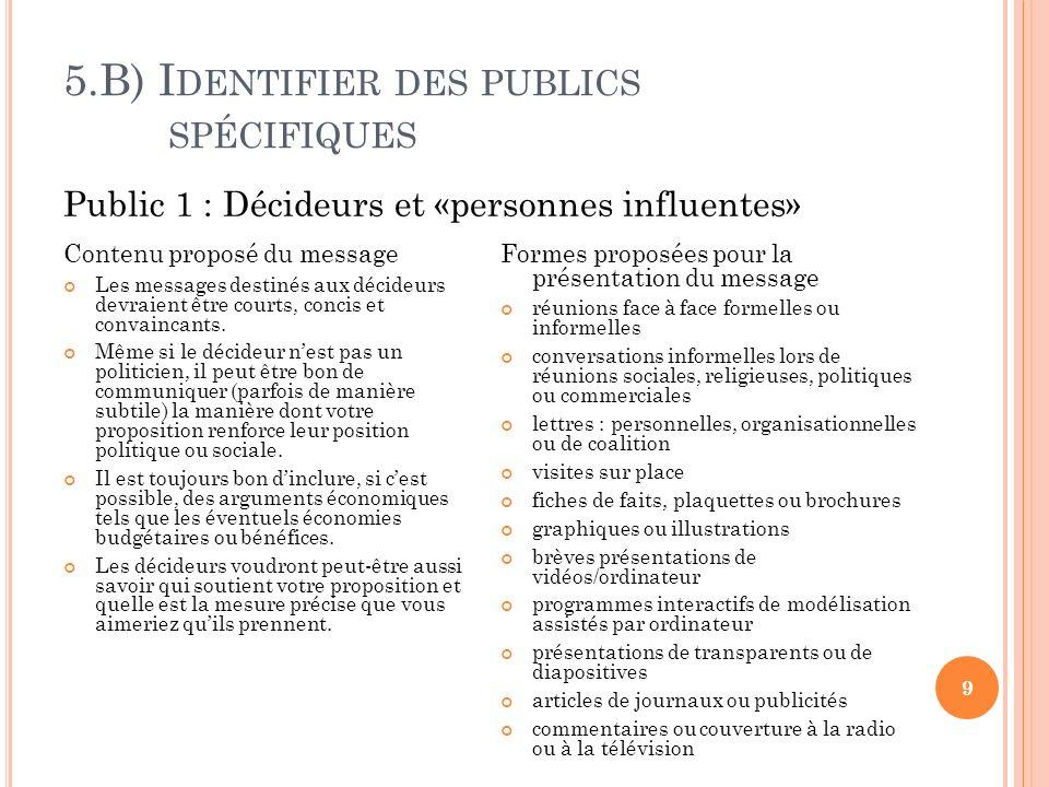 5.B) I DENTIFIER DES PUBLICS SPÉCIFIQUES 9 Contenu proposé du message Les messages destinés aux décideurs devraient être courts, concis et convaincants.