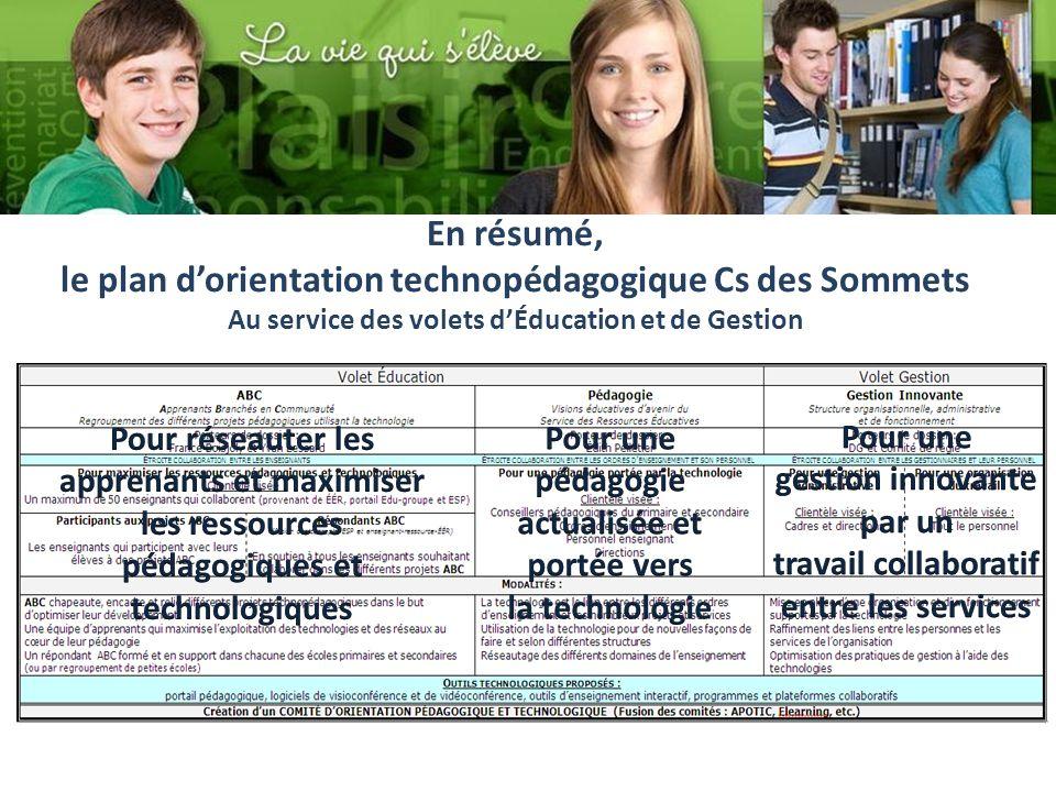 En résumé, le plan dorientation technopédagogique Cs des Sommets Au service des volets dÉducation et de Gestion