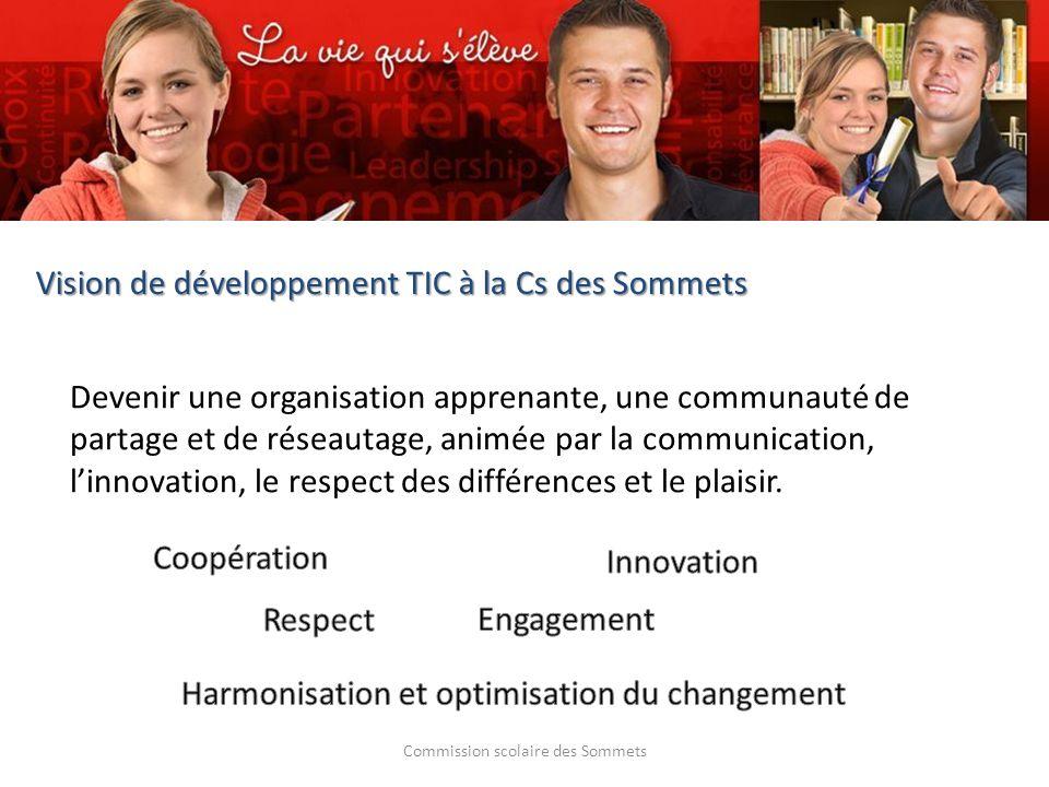Vision de développement TIC à la Cs des Sommets Devenir une organisation apprenante, une communauté de partage et de réseautage, animée par la communication, linnovation, le respect des différences et le plaisir.