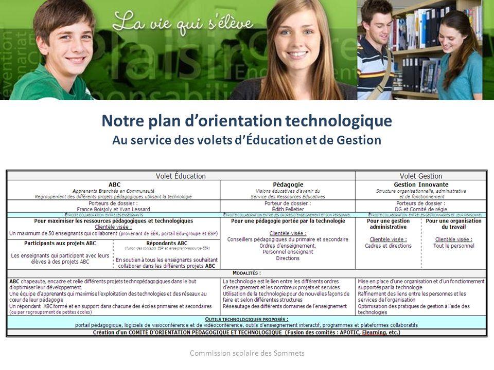 Commission scolaire des Sommets Notre plan dorientation technologique Au service des volets dÉducation et de Gestion