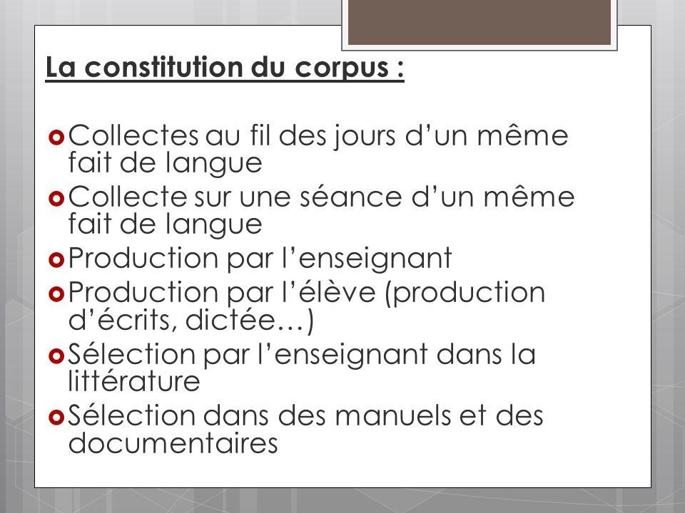 La constitution du corpus : Collectes au fil des jours dun même fait de langue Collecte sur une séance dun même fait de langue Production par lenseign