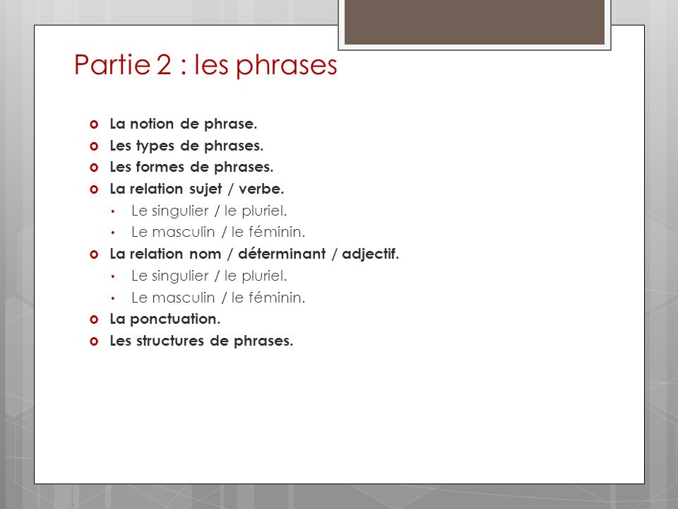 Partie 2 : les phrases La notion de phrase.Les types de phrases.