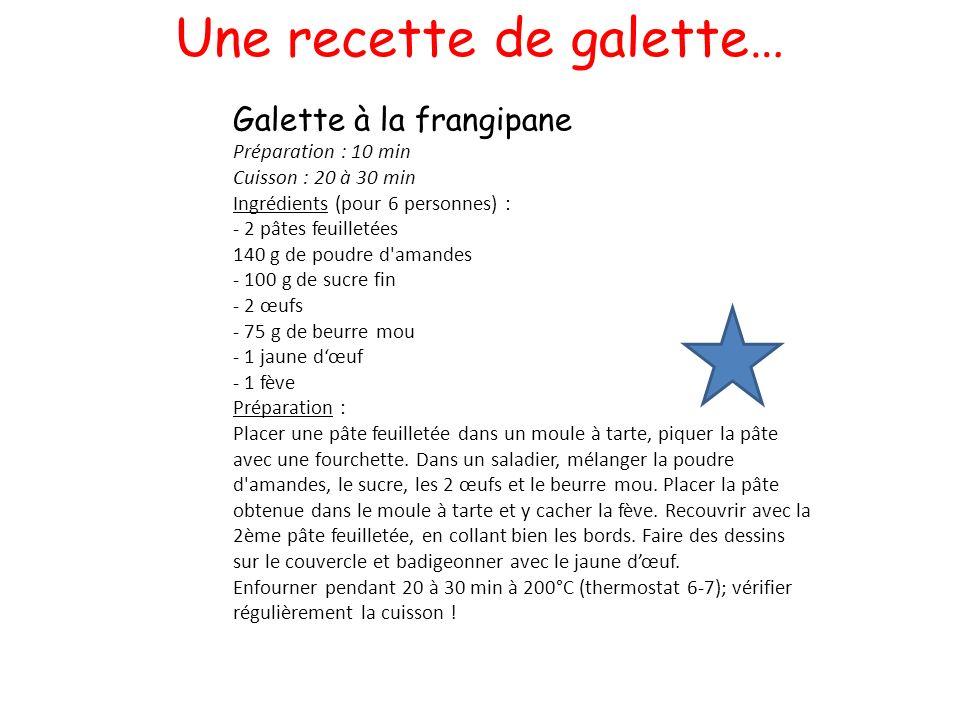 Une recette de galette… Galette à la frangipane Préparation : 10 min Cuisson : 20 à 30 min Ingrédients (pour 6 personnes) : - 2 pâtes feuilletées 140