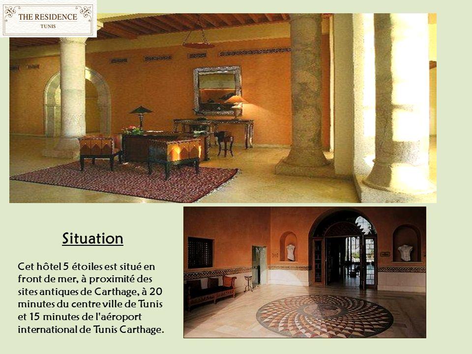 Situation Cet hôtel 5 étoiles est situé en front de mer, à proximité des sites antiques de Carthage, à 20 minutes du centre ville de Tunis et 15 minut
