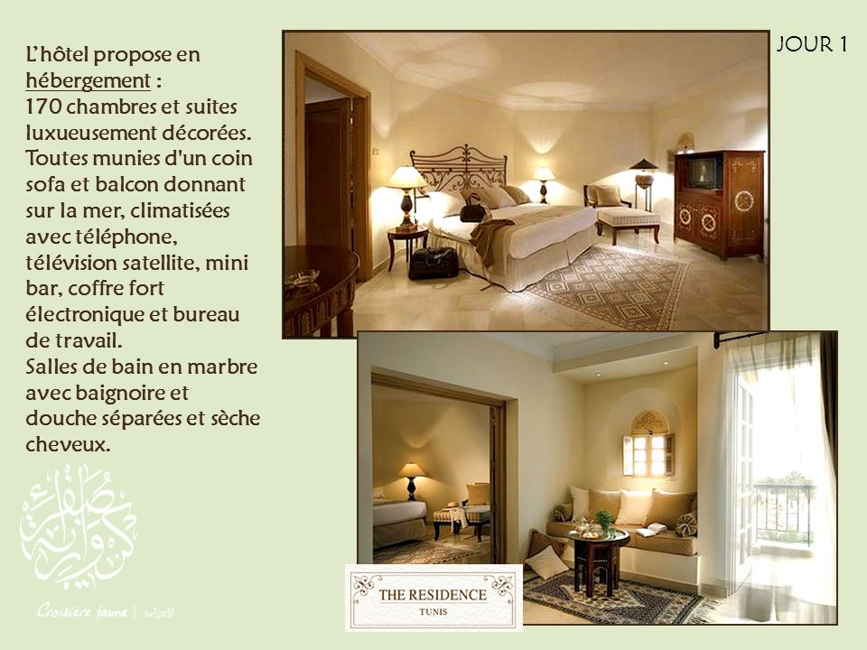 Lhôtel propose en hébergement : 170 chambres et suites luxueusement décorées. Toutes munies d'un coin sofa et balcon donnant sur la mer, climatisées a