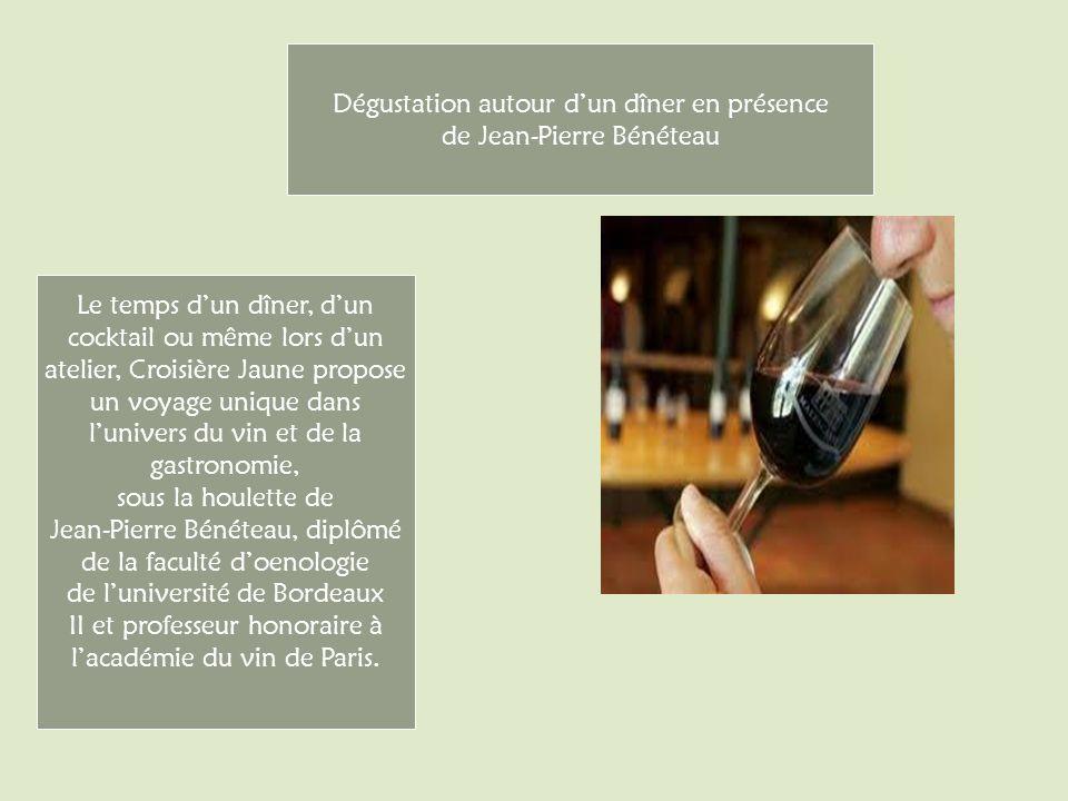 Le temps dun dîner, dun cocktail ou même lors dun atelier, Croisière Jaune propose un voyage unique dans lunivers du vin et de la gastronomie, sous la