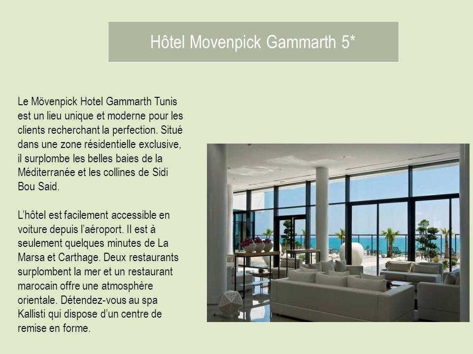 Hôtel Movenpick Gammarth 5* Le Mövenpick Hotel Gammarth Tunis est un lieu unique et moderne pour les clients recherchant la perfection. Situé dans une