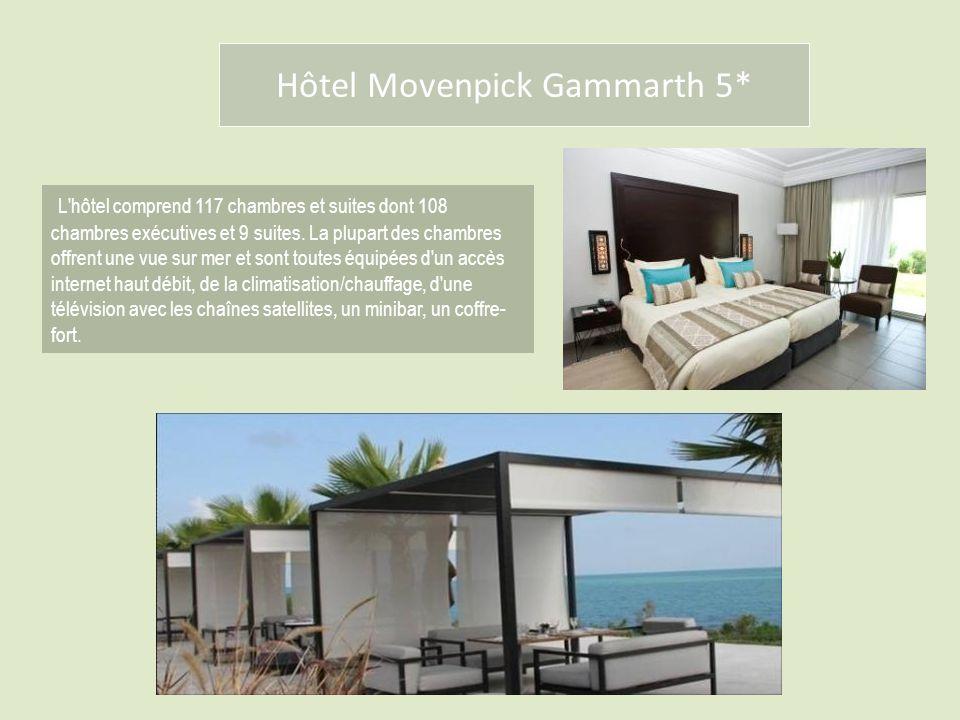 Hôtel Movenpick Gammarth 5* L'hôtel comprend 117 chambres et suites dont 108 chambres exécutives et 9 suites. La plupart des chambres offrent une vue