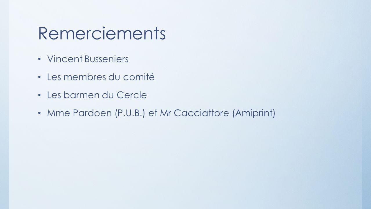 Remerciements Vincent Busseniers Les membres du comité Les barmen du Cercle Mme Pardoen (P.U.B.) et Mr Cacciattore (Amiprint)
