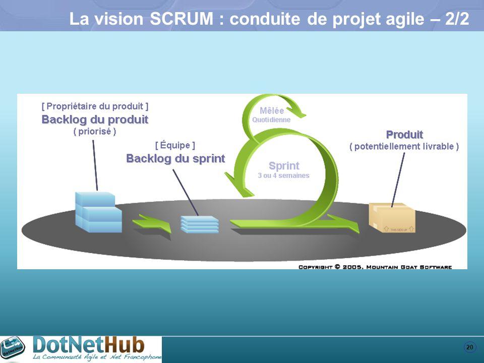 20 La vision SCRUM : conduite de projet agile – 2/2