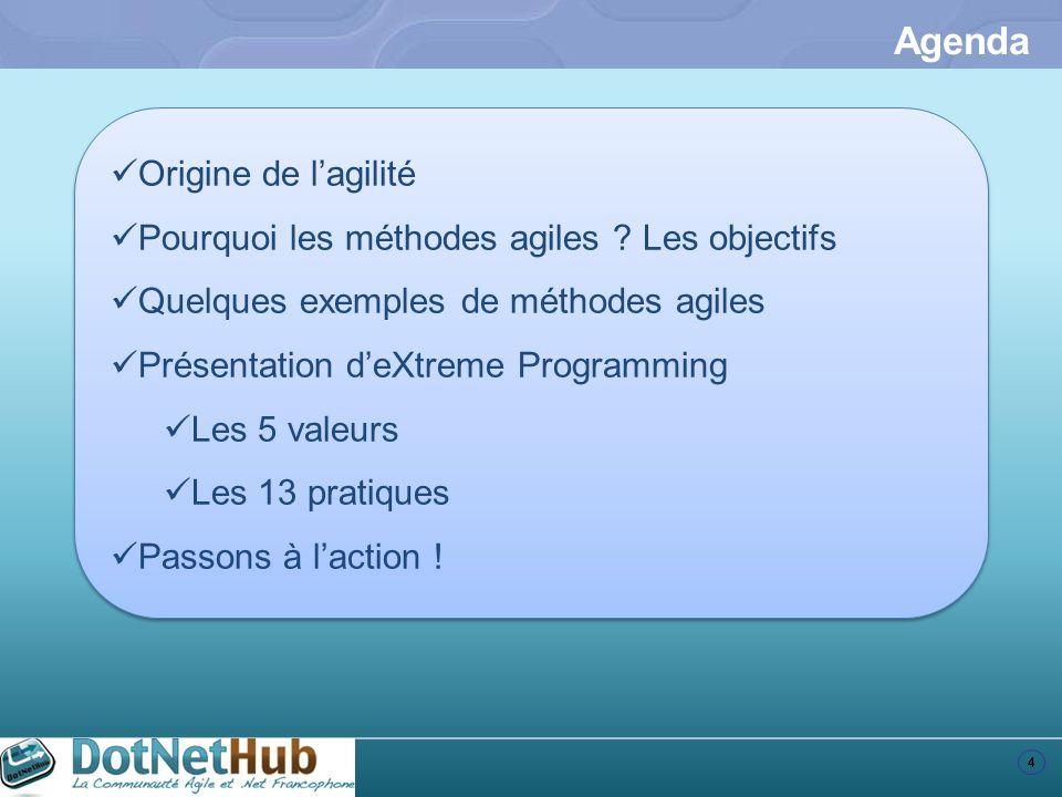 4 Agenda Origine de lagilité Pourquoi les méthodes agiles ? Les objectifs Quelques exemples de méthodes agiles Présentation deXtreme Programming Les 5