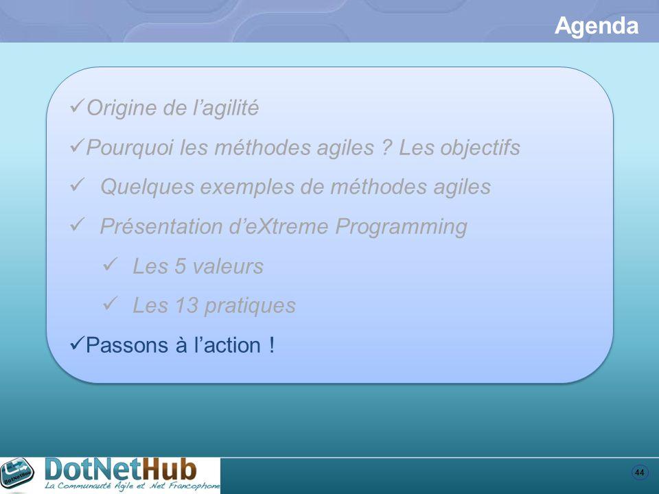 44 Agenda Origine de lagilité Pourquoi les méthodes agiles ? Les objectifs Quelques exemples de méthodes agiles Présentation deXtreme Programming Les