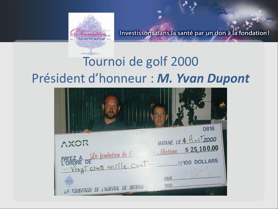 Tournoi de golf 2000 Président dhonneur : M. Yvan Dupont