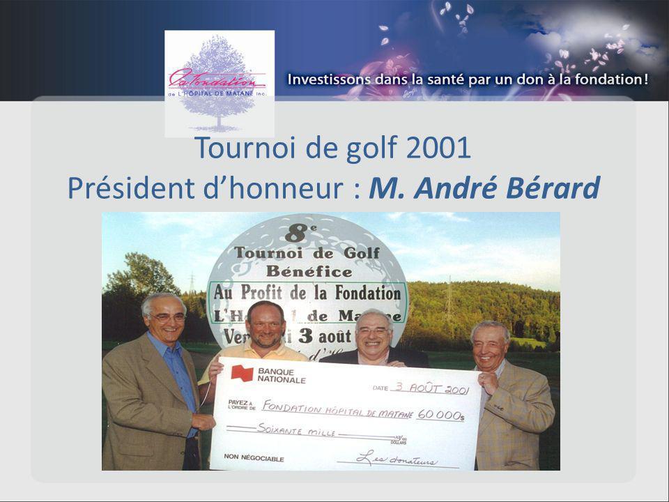 Tournoi de golf 2001 Président dhonneur : M. André Bérard