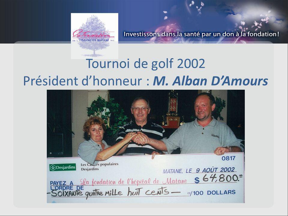 Tournoi de golf 2002 Président dhonneur : M. Alban DAmours