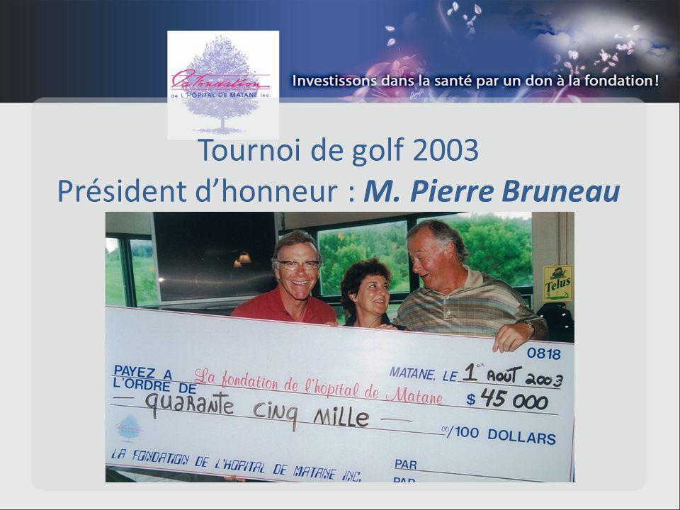 Tournoi de golf 2003 Président dhonneur : M. Pierre Bruneau