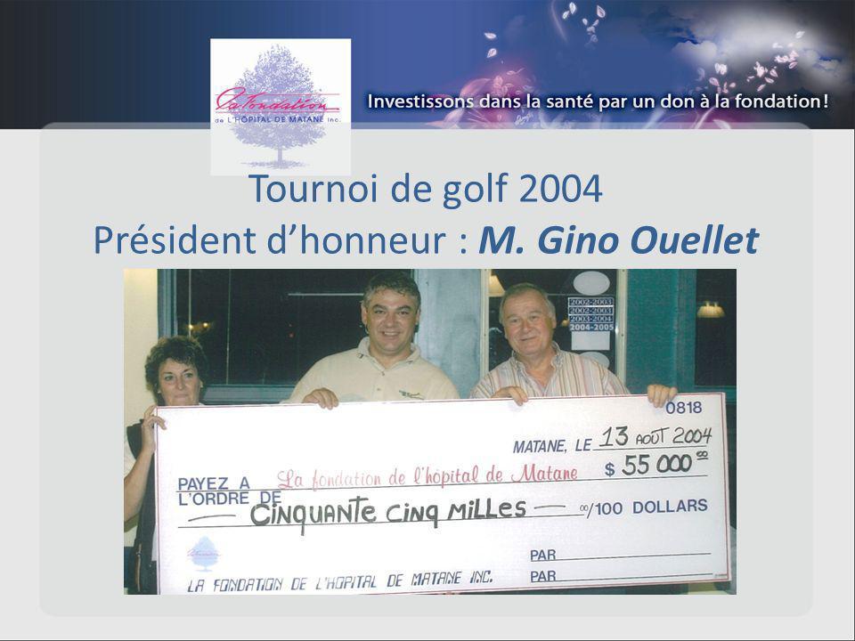 Tournoi de golf 2004 Président dhonneur : M. Gino Ouellet