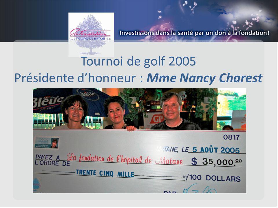 Tournoi de golf 2005 Présidente dhonneur : Mme Nancy Charest