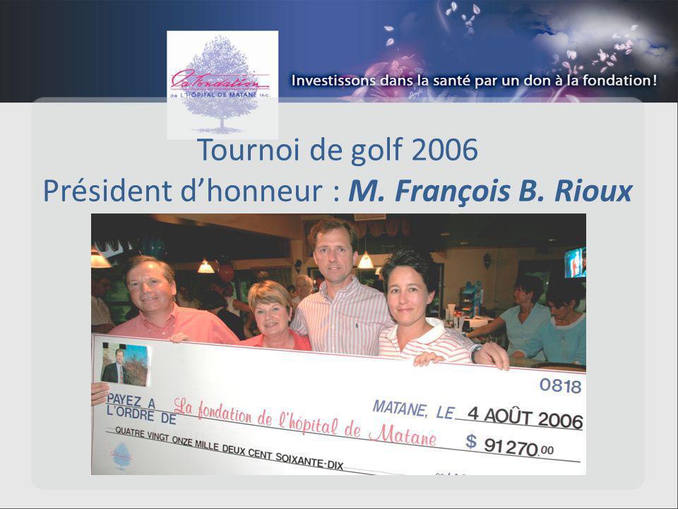 Tournoi de golf 2006 Président dhonneur : M. François B. Rioux
