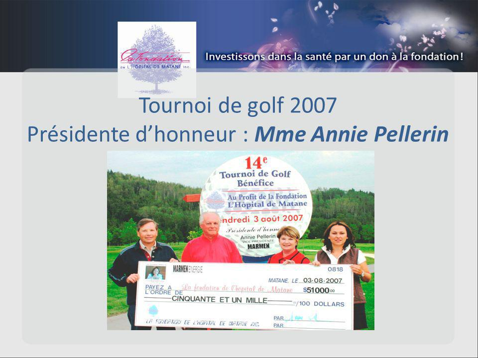 Tournoi de golf 2007 Présidente dhonneur : Mme Annie Pellerin
