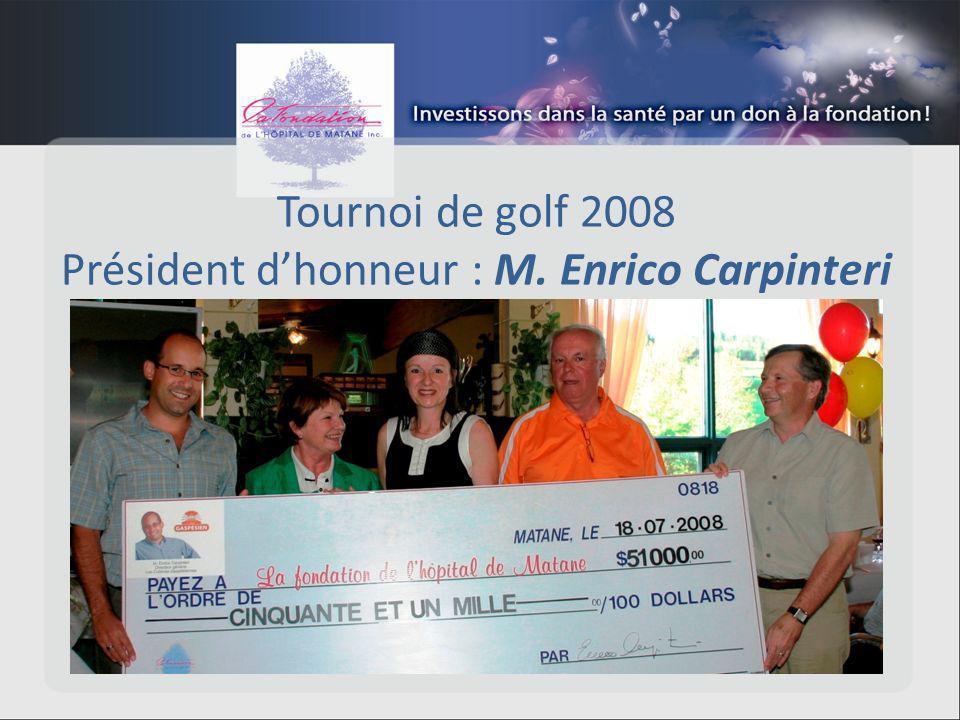 Tournoi de golf 2008 Président dhonneur : M. Enrico Carpinteri