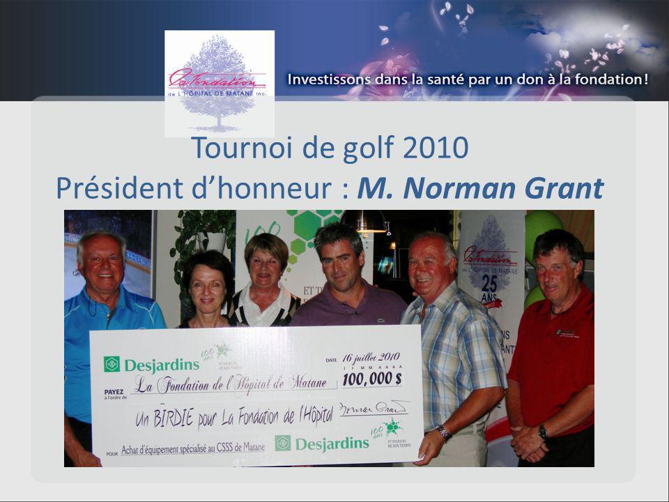 Tournoi de golf 2010 Président dhonneur : M. Norman Grant