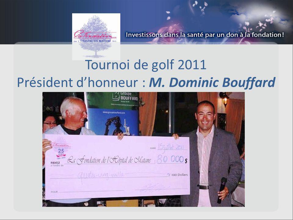 Tournoi de golf 2011 Président dhonneur : M. Dominic Bouffard