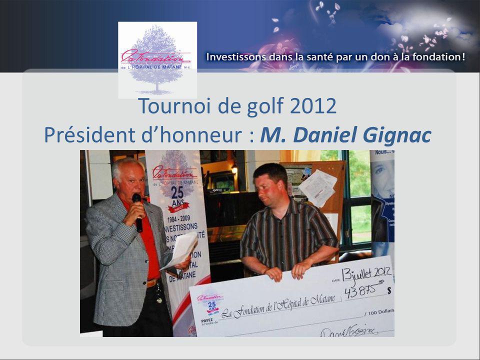 Tournoi de golf 2012 Président dhonneur : M. Daniel Gignac